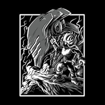 Gamer remastered zwart en wit illustratie
