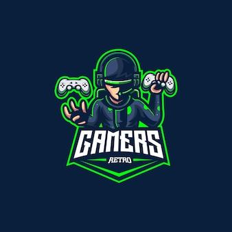 Gamer retro logo videogame