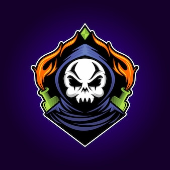 Gamer schedel mascotte esport logo illustratie
