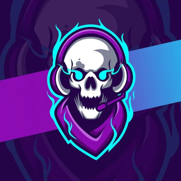 Gamer schedel mascotte esport logo-ontwerp