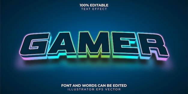 Gamer-teksteffect volledig bewerkbaar gloeiend neon led-licht