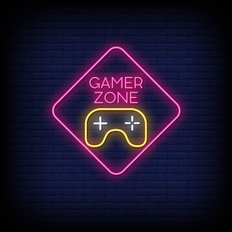 Gamer zone neon signs style text
