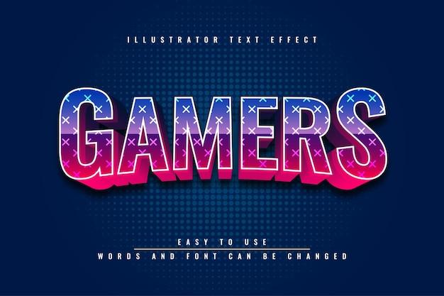 Gamers bewerkbaar 3d-teksteffectontwerp