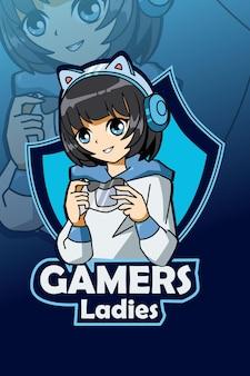 Gamers dames logo en sport illustratie