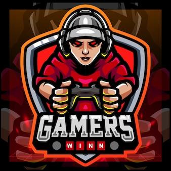 Gamers mascotte esports logo ontwerp
