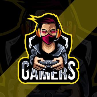 Gamers mascotte logo esport sjabloonontwerp