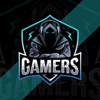 Gamers mascotte logo-ontwerp