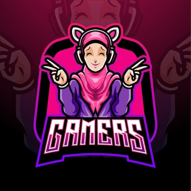 Gamers meisje esport logo mascotte ontwerp.