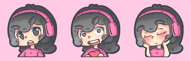 Gamers meisjes avatar illlustration