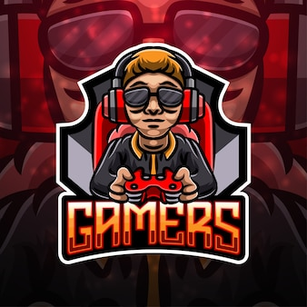 Gamers sport mascotte logo ontwerp