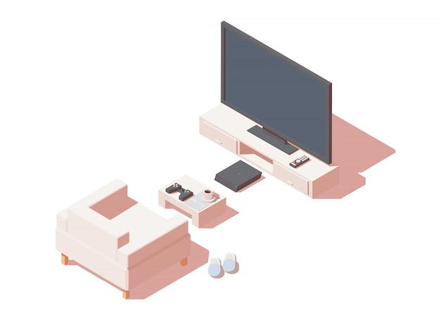 Gamerstoel met gameconsole en tv.