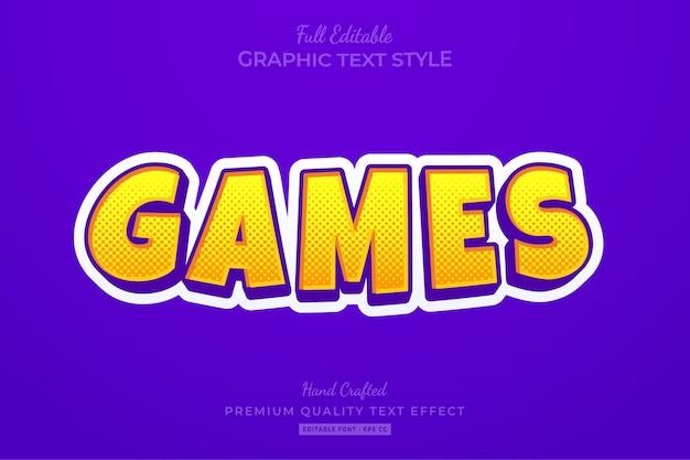 Games cartoon halftone bewerkbare teksteffect lettertypestijl