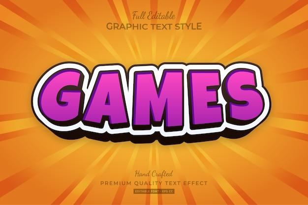 Games cartoon magenta oranje bewerkbaar teksteffect lettertypestijl