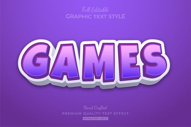 Games cartoon purple bewerkbare teksteffect lettertypestijl