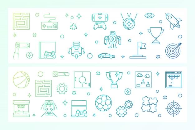 Games concept creatieve banners. vector illustratie