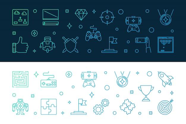 Games gekleurd overzicht icon set