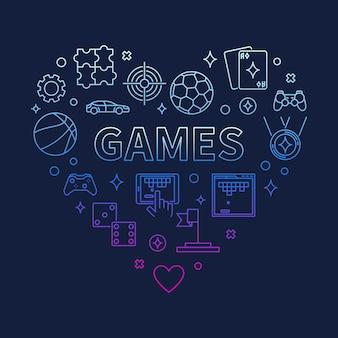 Games hart concept kleurrijke overzicht pictogram illustratie