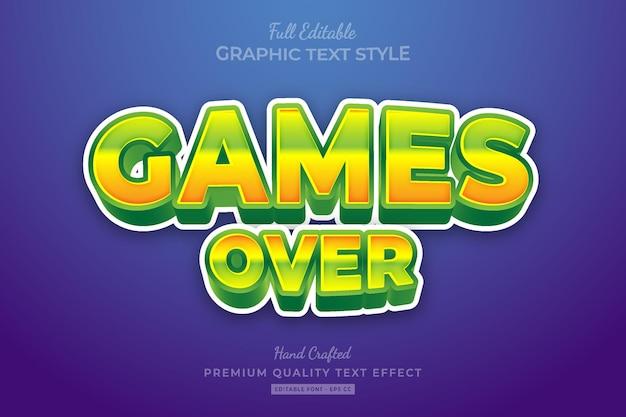 Games over cartoon bewerkbare premium teksteffect lettertypestijl