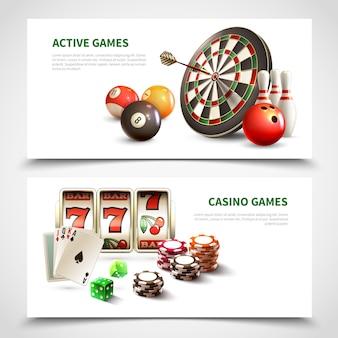 Games realistische banner set