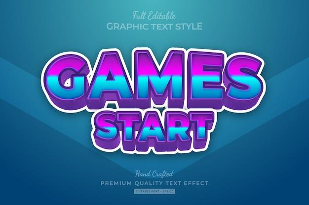 Games start bewerkbare premium teksteffect lettertypestijl