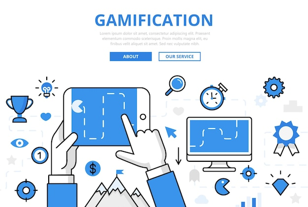 Gamification banner in vlakke stijl