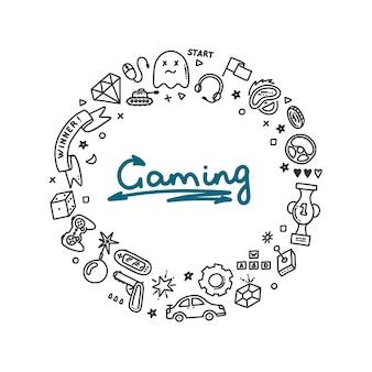 Gaming doodle set in ronde print virtual reality computers game genres en andere gerelateerde objecten