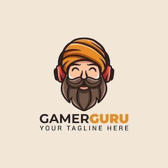 Gaming goeroe man met baard mascotte cartoon met gamer koptelefoon logo