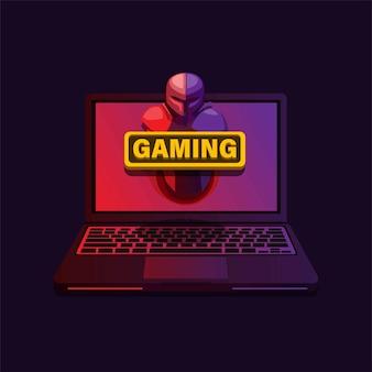 Gaming laptop rood paars gradiënt toetsenbord en scherm met ridderfiguur pop-up realistische vector