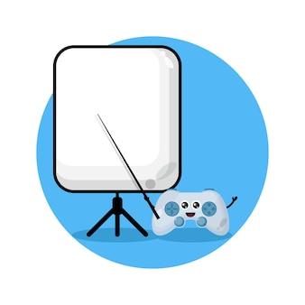 Gaming leraar schattig karakter logo