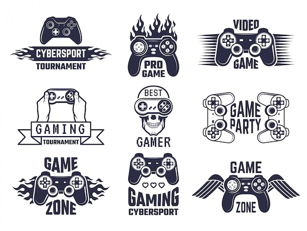 Gaming logo set. videogames en labels voor cybersport