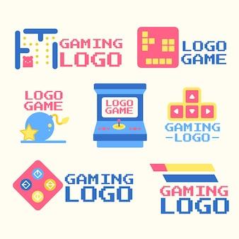 Gaming-logocollectie met plat ontwerp