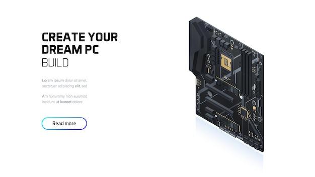 Gaming pc moederbord isometrische banner
