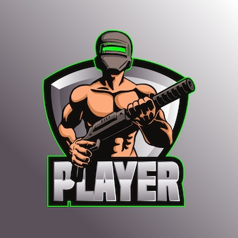 Gaming pubg logo mascotte illustratie