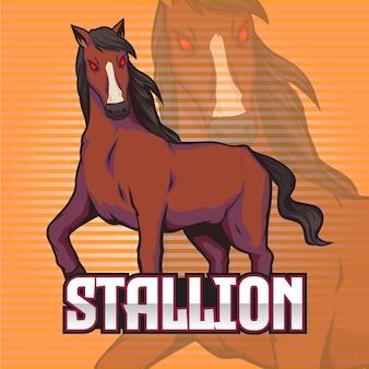 Gaming squad logo stallion mascotte