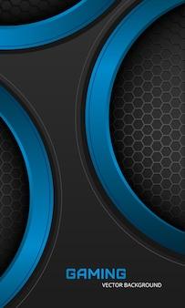 Gaming verticale achtergrond met zeshoek koolstofvezel Premium Vector