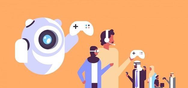 Gamingillustratie met arabische mensen