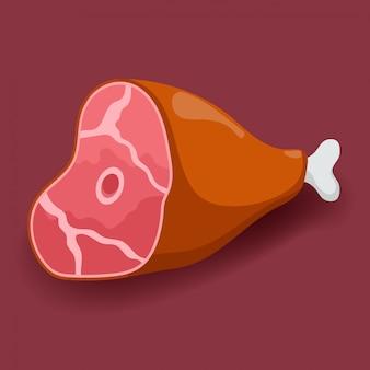 Gammon van vlees. vers vlees pictogram plat