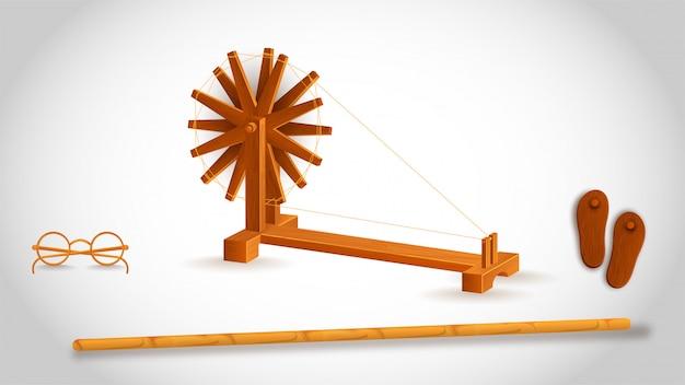 Gandhiji gebruikte gereedschap als een houten stok met spinnewiel, bril en paduka (khadau) op wit.