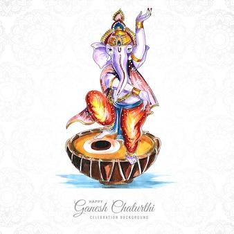 Ganesh chaturthi wenst wenskaart op aquarelontwerp