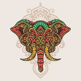 Ganesha hand getrokken mandala kunst illustratie