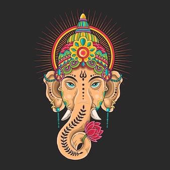 Ganesha hoofd mascotte kleurrijke illustratie