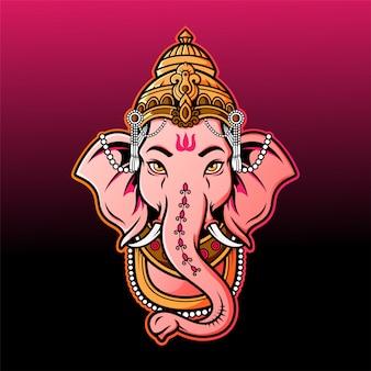 Ganesha hoofd mascotte logo