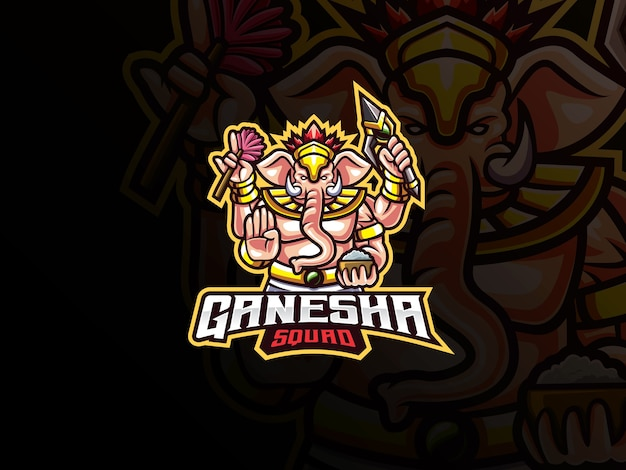 Ganesha mascotte esport-logo. ganesha mascotte logo. ganesha-mascotte, voor esports-team.