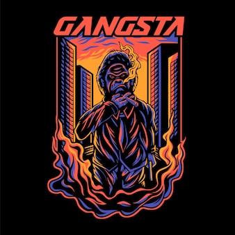 Gangsta gorilla in de nacht stad gorilla t-shirt