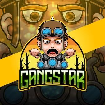Gangstar esport mascotte logo ontwerp
