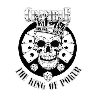 Gangster casino schedel. vintage logo met speelkaarten, kroon, hoge hoed, dobbelstenen