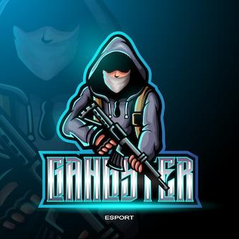 Gangster mascotte voor gaming-logo.