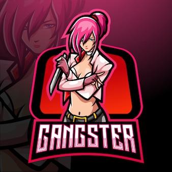 Gangster meisje esport logo mascotte ontwerp