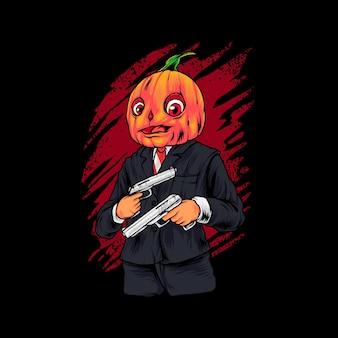 Gangster pompoen illustratie premium vector, perfect voor t-shirt