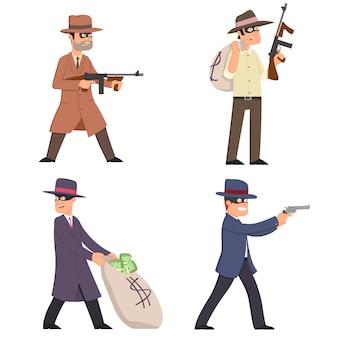 Gangsters met wapens in pakken, maskers en hoeden.